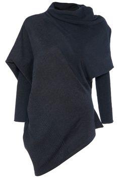 Batwing Sleeves Pleated Black Jumper