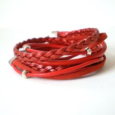 red leather wrap bracelet suede bohemian wrap silver by jcudesigns, £17.00