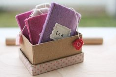 make your own play tea bags and information on how to make stamp tags that won't wash off in the wash