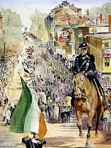 Dan McCole, Boston watercolor, Southie Parade