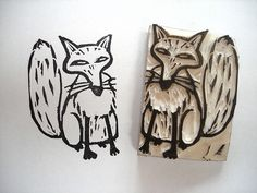 Fox hand carved stamp