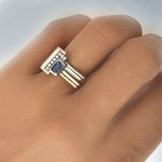 Sapphire and diamonds square gold engagement ring - sapphire and diamonds pave engagement ring - modern engagement ring by Florencehandmade on Etsy Mom Jewelry, Jewelry Rings, Jewelry Design, Jewellery, Vic Beckham, September Birthstone Rings, Modern Engagement Rings, Square Rings, 3d Prints