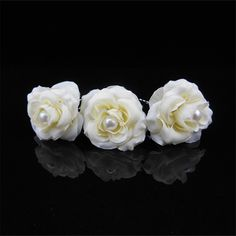 Haimeikang White Rose Flower Pearl Hair Stick Bride Wedding Hair Accessories Women Lace Feather Hair Clip Hairpin Headdress