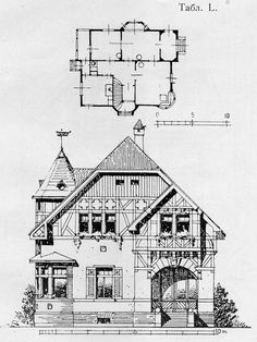 Vintage House Plans, Medieval Houses, Historic Homes, Home Projects, Cottages, Planer, Facade, Beautiful Homes, Architecture Design