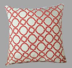 Coral Pillow, Lattice Throw Pillow Cushion Cover Geometric Pillow, Waverly Decorative French Country Cottage Decor, Farmhouse Pillow  This beautiful geometric lattice fabric is by Waverly. The look and softness gives the feel of a country home or bed and breakfast living. Coral color with an ivory background. Excellent drapery weight fabric.  Fabric Care: 100% Cotton Professional Cleaning Recommended  Completion Time: The covers are sewn after the order is received. The turn around is…