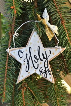 "This handmade ornament featuring the words, ""O Holy Night"" is simple to create and the perfect addition to any Christmas tree!"