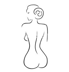 Abstract sexy woman sitting back. Silhouette vector by natareal on VectorStock®