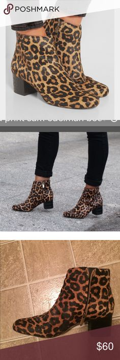 Sam Edelman leopard print calf hair booties Leather leopard print calf hair booties. Excellent condition. I tried to point out imperfections which is one on the heel, leather slightly pushed up, u can't really see it tho. And there is weird boldness going on one of the pairs, but it was like that when it was purchased. Other than that excellent like new condition, worn 4 times. Heel tips are still full. Sam Edelman Shoes Ankle Boots & Booties
