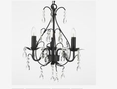 Gallery 591-3 3 Light 1 Tier Wrought Iron and Crystal Chandelier - Traditional - Chandeliers - by Buildcom