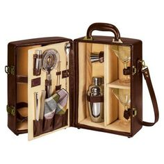 A portable bar just in time for picnic season? We'll toast to that! Legacy by Picnic Time's Manhattan cocktail case is fully insulated to keep your bottles cool and is equipped with a martini glass, shaker, jigger, tongs, and more! Manhatten Cocktail, Legacy Collection, Picnic Time, Fruity Cocktails, Brandy Cocktails, Bar Tools, Cocktail Shaker, Cocktail Bitters, Organizer