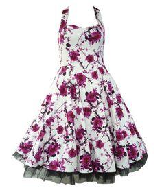 H&R London 50's Floral Dress White & Pink / Fuschia [UK & IRELAND]