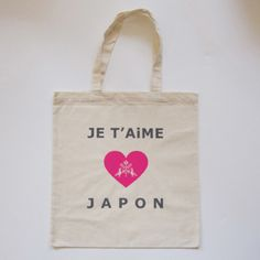 Je T'Aime Japon  Pink heart tote bag.