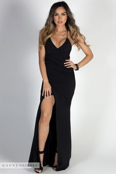 """Hollywood"" Black Glamorous Backless Evening Gown with Thigh High Slit"