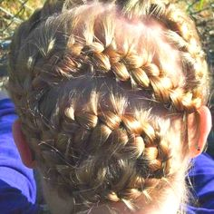 S braid. Start at top and keep switching back picking little hairs up to add to braid back n forth all down head to nape. Use bobby pins to pin the end of braid all around the S