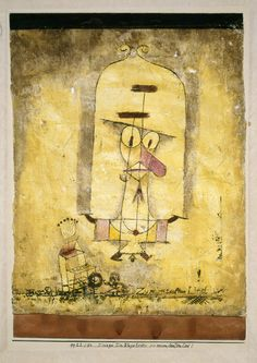 Paul Klee, Dance You Monster to My Soft Song!, 1922. Watercolor and oil transfer drawing on plaster-primed gauze, with watercolor and ink on paperboard mount, gauze: approximately 13 7/8 x 11 1/2 inches (35.2 x 29.2 cm); mount: 17 6/8 x 12 7/8 inches (44.9 x 32.6 cm)