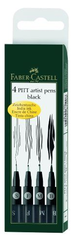 Pitt Artist Pens - Wallet Set of All 4 Pen Styles in Black