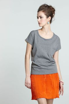 Orange pleated skirt   Anthropologie