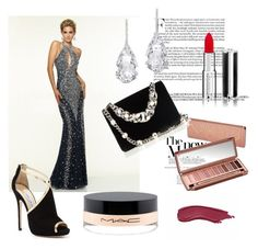 Brush Train Prom Dress by johnnymuller on Polyvore featuring Jimmy Choo, Miu Miu, Plukka, Givenchy, MAC Cosmetics and Urban Decay