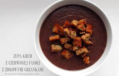 Cream of red beans with herb croutons