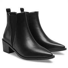 Leather-look Chelsea Boots ❤ liked on Polyvore featuring shoes, boots, ankle booties, pointy toe boots, vegan booties, synthetic leather boots, pointed-toe chelsea boots and vegan leather booties