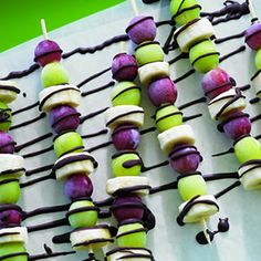 Frozen Grape and Banana Skewers with Chocolate Drizzle... Perfect for a summer