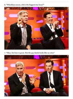 funny moment when Harrison Ford (the celebrity to beat all celebrities) makes a fandom joke about Ben