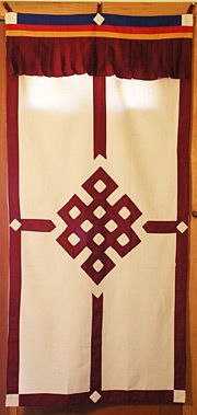 Cotton Endless Knot Door Curtain - Home Shrine by Tibetan Treasures