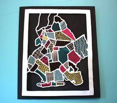 Hand-cut paper map of Brooklyn, inspired by textures in each neighborhood, by Lekker Haas. Wow.