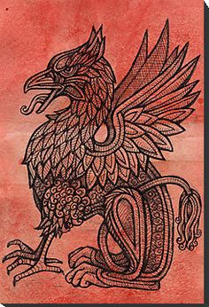 red gryphon print by lynette shelley