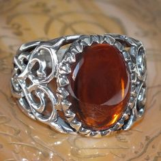 Baltic Amber Ring 925 Sterling Silver Unique Design Completely Handmade #KaraJewels #Handmade #jewellery #men #ring #sterling #silver #Amber #karajewels #baltic #natural #unique