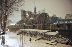 A snow-covered Notre-Dame cathedral