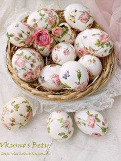 Shabby Chic Easter eggs decorated with decoupage