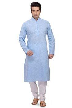 Sky Blue casual wear Punjabi kurta pajama in cotton Kurta Pajama Men, Kurta Men, Boys Kurta, Mens Shalwar Kameez, Gents Kurta Design, Moslem, Indian Kurta, Indian Ethnic, Kurta Style