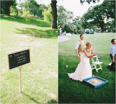Wedding Lawn Games at your outdoor wedding. This bride makes corn hole look glamorous.