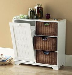 black not white and different bins. use for trash and kitchen storage