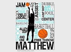Basketball Typography Print, 8x10 Art, Perfect Sporty Boys Room Art, You Choose the Colors, Makes a Great Gift for any Basketball Lover via Etsy