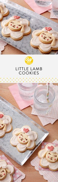 Bake up a batch of oh-so-sweet little lamb cookies this Easter to make a big impression on friends and family. Stacked and iced, these cookies make a clever dimensional treat for the Easter dessert table or as a favor and take home treat for your guests #wiltoncakes #cookies #cookieideas #easter #eastercookies #lambs #lambcookies #animalcookies #easterideas #easterdesserts #buttercream #piping #wiltontips #inspiration
