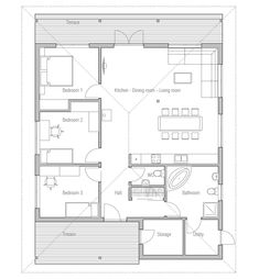 Small House Plan CH5, Floor Plan from ConceptHome.com
