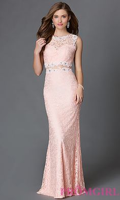 36875012fcf Mock Two Piece Floor Length Lace Dress at PromGirl.com Plus Size Prom  Dresses