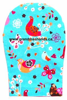 Bird Cotton Ostomy Bag Cover with Blue Background