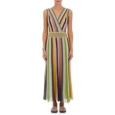 Missoni Women's Metallic Striped Maxi Dress ($1,995) ❤ liked on Polyvore featuring dresses, pink, pink metallic dress, missoni dress, sleeveless dress, maxi dresses and stripe maxi dress