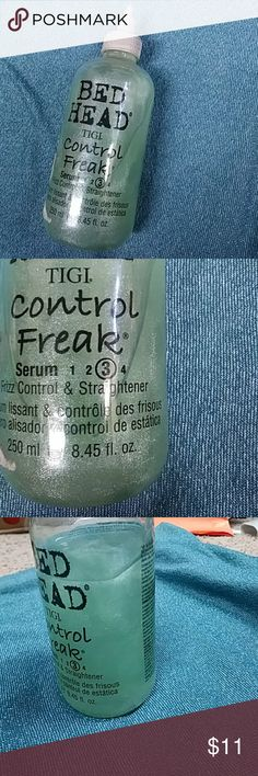 TIGI Bed Head Control Freak Serum 1/4 gone. Weighs down my super fine hair. For normal and beyond hair preferably! Excellent otherwise used to this for about 15 years until my hair started thinning of it yikes... It is a number three Serum with frizz control and straightener which I love because I have naturally curly hair as well so if you're looking for either or or both this is for you it's an amazing product! Not to mention those sparkles in it and it's seafoam green, too cute! Tigi…