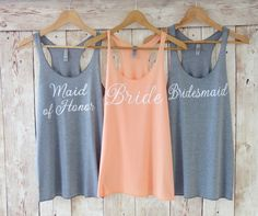 Bridesmaid Tank Top. Bridesmaid Tanks. Bridesmaid Shirts. Bride Tank Maid of Honor Tank Bride Shirt Bachelorette Party Shirts Eco White Font by TheLittleBridalShop on Etsy (null)
