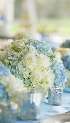 100 Beautiful Hydrangeas Wedding Ideas Pretty spring wedding centerpieces with white roses and light blue hydrangeas Blue Wedding Flowers, Wedding Colors, Wedding Bouquets, Blue Flowers, Floral Wedding, French Blue Wedding, Blue Orchids, Cream Flowers, Cream Roses