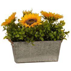 Sunflower Mix Arrangement in Galvanized Planter ($40) ❤ liked on Polyvore featuring home, home decor, floral decor, filler, flower arrangement, artificial flower arrangement, flower planters, flower stem and artificial flower stems