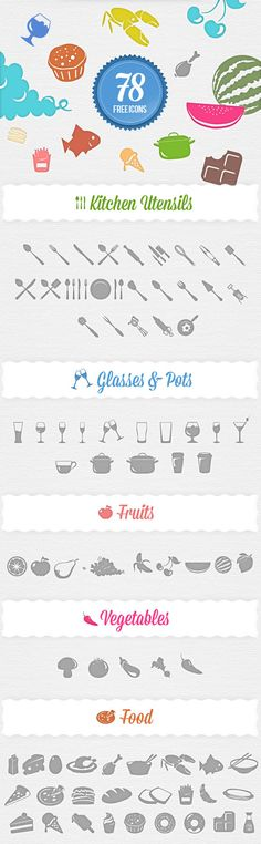 Free Food Icons Set--for web design Web Design Icon, Blog Design, Graphic Design Inspiration, Branding And Packaging, Food Icons, Free Graphics, Grafik Design, Icon Set, Design Projects