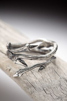 dark silver Elvish Herkimer Diamond ring: twigs and natural crystal, rock crystal - RedSofa jewelry. $165.00, via Etsy.