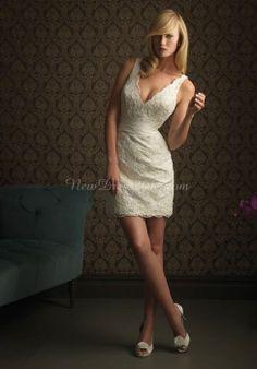 lace sheath/column v-neck sleeveless natural waist short-length wedding dress - newdress2014.com