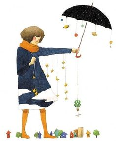 Sweet umbrella illustration by Rie Nakajima Umbrella Art, Under My Umbrella, Cute Illustration, Watercolor Illustration, Parasols, Art Graphique, Whimsical, Character Design, Artsy