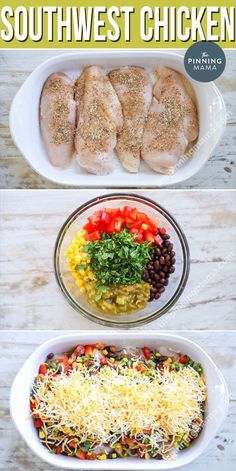 This Southwest Chicken is made with tender chicken breast, tons of veggies, and a delicious seasoning blend then baked in just one dish for an easy weeknight dinner with even easier clean up. We love this gluten free chicken recipe for weeknights and also Easy Chicken Recipes, Easy Dinner Recipes, Salmon Recipes, Chicken Recipes For Dinner, Gluten Free Recipes With Chicken, Healthy Dinner With Chicken, Gluten Free Dinners Easy, Quick Easy Healthy Dinner, Easy Dinner For Two